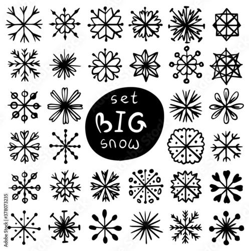 Fototapeta set of snowflakes obraz