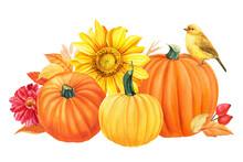 Autumn Composition, Pumpkins, Flowers, Sunflowers, Dahlia, Yellow Leaves, Berries, Birds, White Background, Watercolor