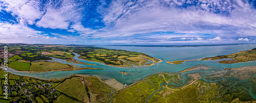 Fotografie, Obraz Aerial panoramic view of Newtown of isle of Wight