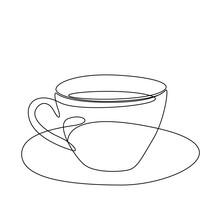 Line Art Coffee Cup Illustration. Modern Minimal Design. Eps10 Vector.