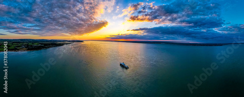 Fotomural Aerial view of Solent near isle of WIght