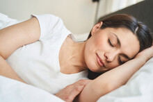 Serene Lady Dozing Off In Her ...