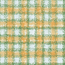 Vector Plaid Weave Seamless Pattern Background. Organic Watercolor Brush Stroke Orange Beige Green Woven Check Backdrop. Repeat Modern Gingham Cloth Style All Over Print For Fall, Winter, Autumn