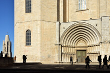 Square Of The Apostles And Side Door Of The Cathedral Of Girona And Bell Tower Of Sant Feliu, Catalonia, Spain