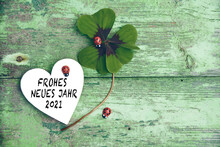 Frohe Neues Jahr 2021  Means Happy New Year 2021 - New Year Congratulations - Lucky Clover With Ladybug And Heart