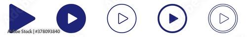 Fényképezés Play Button Icon Blue | Start Buttons Illustration | Video Audio Player Navigate