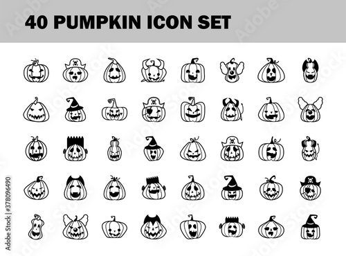 Photo bundle of fourty halloween pumpkins line style icons