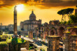Amazing ruins of the Roman Forum at sunset, Rome. Italy