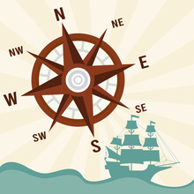 Happy Columbus Day Celebration With Ship And Compass