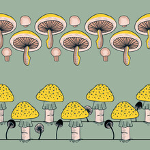 Mushrooms Garden Vector Seamless Horizontal Borders Set