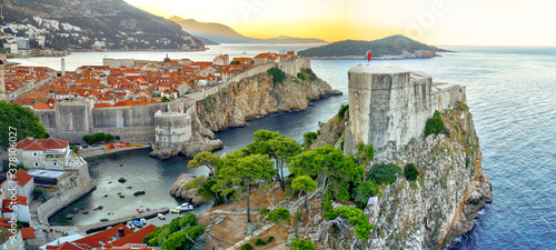 Aerial shoot of Dubrovnik old town during sunrise, Croatia, Europe Fototapeta