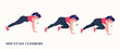 Fat Girl doing MOUNTAIN CLIMBERS exercise, Woman workout fitness, aerobic and exercises. Vector Illustration.