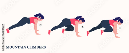 Obraz Fat Girl doing MOUNTAIN CLIMBERS exercise, Woman workout fitness, aerobic and exercises. Vector Illustration. - fototapety do salonu