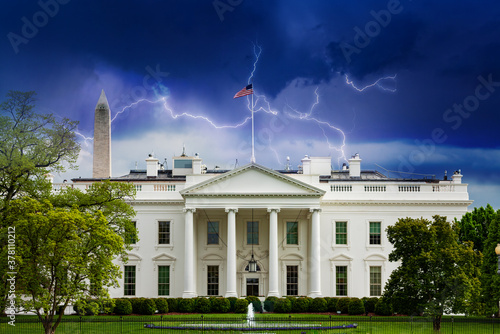 Photo Storm moody sky over White House, residence and workplace of the president of th