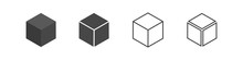 Cube Set Isolated Vector Icon. 3D Box In Different Styles. Black Block Symbol For Web And App