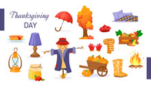 Set Of Cartoon Elements Of Autumn. Tree With Leaves, Raincoat, Warm Clothes, Book, Kerosene Lamp, Rubber Boots, Scarecrow, Wooden Pumpkin Cart Vector. Harvest Time Autumn Greeting Card Vector.