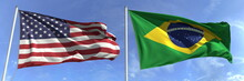 Flags Of The USA And Brazil On Flagpoles. 3d Rendering