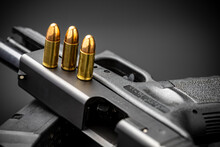 Close Up Of 9 Mm.bullets And A...