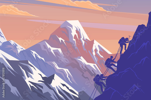 Fototapeta Climbing on mountain. Silhouette traveling people. Vector illustration hiking and climbing team. Squad of three mountaineer alpinists with backpacks climb the slope of the mountain with a taut rope obraz