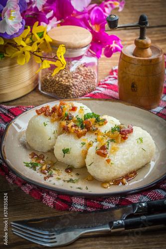 Fototapeta Potato dumplings stuffed with minced meat. obraz