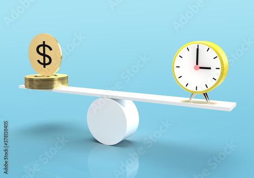 Fototapeta Time equals money concept on balance. Time is money concept obraz