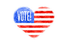 Vote, USA. Poster Of Heart Sha...