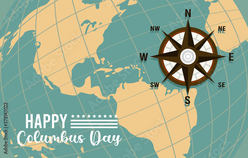 Fototapeta happy columbus day celebration with compass guide and american continent obraz