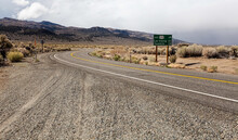 A Section Of Route 120 That Closes For Winter Near Benton Crossing Road Is This Distance Road Sign Indicating Distances To Lee Vining And Yosemite From This Location Up In The Eastern Sierras