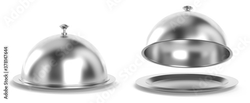 Silver cloche set 3d rendering