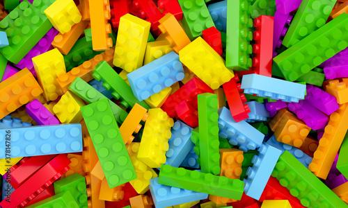 Valokuva Toys bricks colorful background 3d rendering