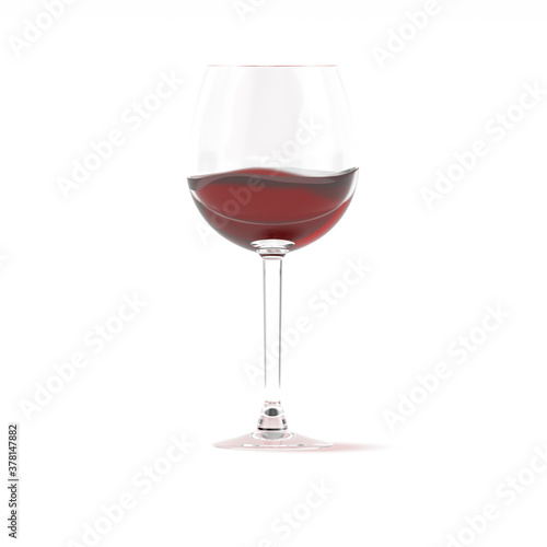 Red wine in glass 3d rendering Fototapet