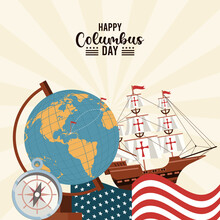 Happy Columbus Day Celebration With Set Icons Poster