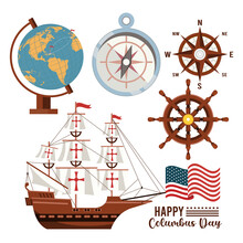 Happy Columbus Day Celebration With Sailboat And Set Icons