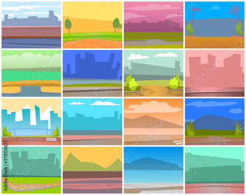 Cards with natural landscape backgrounds, urban city buildings silhouettes Wallpaper Mural