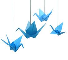 Blue Origami Paper Cranes Hani...