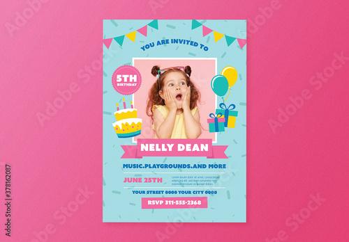 Fototapeta Girl Birthday Party Flyer Layout obraz