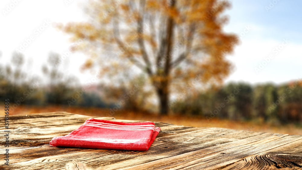 Desk of free space and autumn landscape