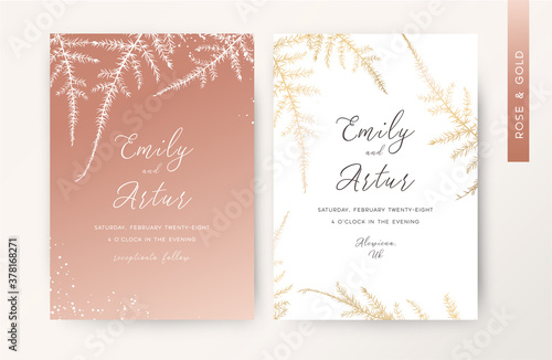 Wedding invite, luxury stylish invitation, save the date, greeting card set. Rose gold color asparagus fern leaves botanical, herbal floral art pattern in metallic foil style. Delicate trendy template