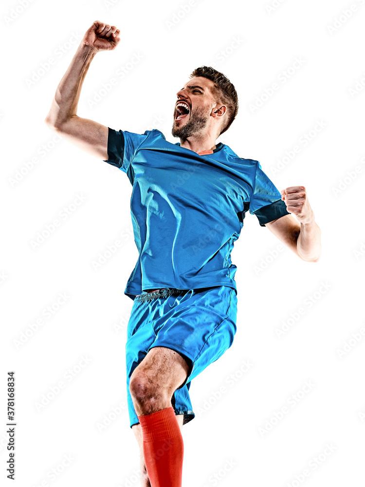 Fototapeta one caucasian youg soccer player man standing in studio isolated on white background