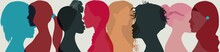 Group Multi-ethnic And International Women And Girl Who Communicate And Share Information. Head Face Silhouette Profile. Social Network Female Community. Friendship Of Diverse Cultures