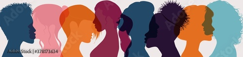 Obraz Female diversity. Group multiethnic and multiracial women and girls who communicate and share information on social network and community. Head face silhouette profile. Friendship. Speak - fototapety do salonu