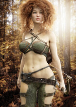 Portrait Of A Sensual Redheaded Female Ranger Surveying The Autumn Landscape . Fantasy Woman Archer Is Equipped With Bow. 3d Rendering