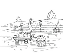 Halloween Coloring With Scarecrow Garden, Pumpkin On A Stump, Broom, Cart With Crops, Hedge, Fields, Maple Leaves. Black And White Vector Illustration Drawn By Hand.
