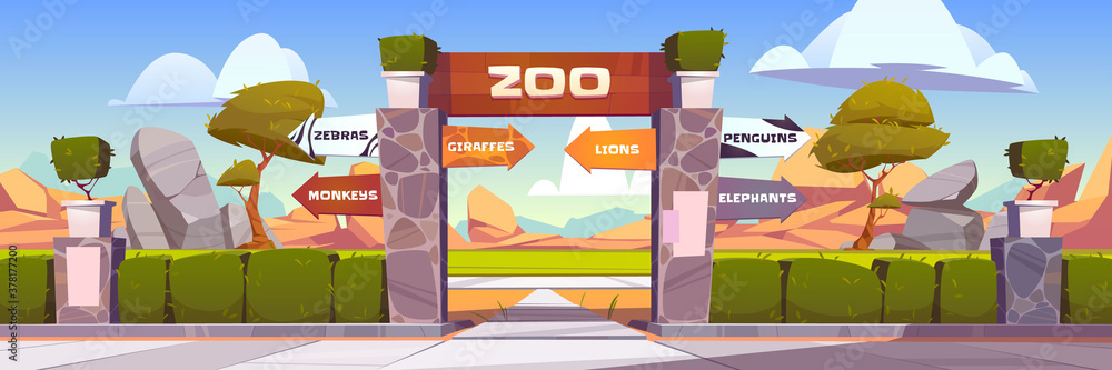 Fototapeta Zoo gates with pointers to wild animals cages monkeys, zebras, giraffes, lions, penguins and elephants. Outdoor park entrance with green bushes fencing and stone pillars. Cartoon vector illustration