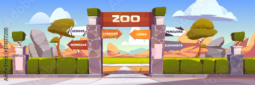Zoo gates with pointers to wild animals cages monkeys, zebras, giraffes, lions, penguins and elephants. Outdoor park entrance with green bushes fencing and stone pillars. Cartoon vector illustration