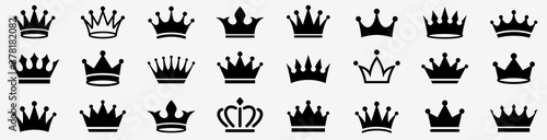 Fotografie, Obraz Crown icon set. Crown sign collection. Vector
