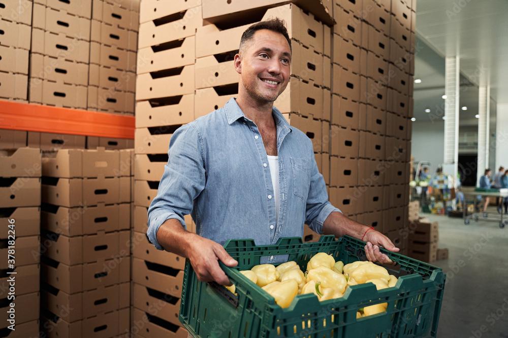 Fototapeta Worker with box in warehouse