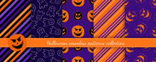 Halloween Seamless Patterns Set. Vector Collection Of Bright Colorful Background Swatches. Cute Funny Abstract Textures With Pumpkins, Ghosts, Jack O Lantern, Stripes, Lines. Repeat Design For Print