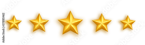Fototapeta Golden realistic star set on white background. Five glossy stars gold stars rating icons. Luxury holidays design element. Shining gold bauble. Feedback concept. Positive review. Vector illustration obraz