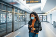 canvas print picture - Black woman traveling on public transport and wearing face mask during coronavirus pandemic
